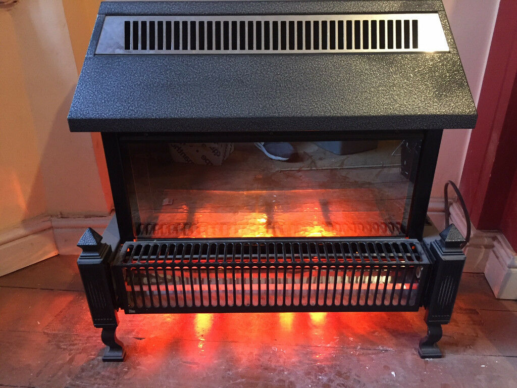 Two Bar Free Standing Electric Fire Finished In Metallic Grey
