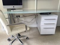 White desk 3 draws with glass top