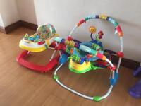 Baby walker and bouncy seat for sale