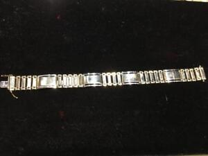 "#1454 14K HEAVY CUSTOM MADE MEN'S BRACELET 8.5"" IN LENGTH. 38.9 GRAMS! YELLOW AND WHITE GOLD!"