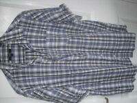 Blue and white check pattern short sleeve shirt for Large by George