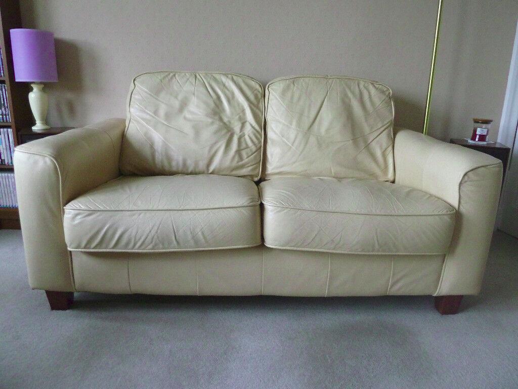 3 piece suite in cream leather