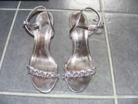 Silver Shoes With Diamante Detail Size 3 Only Worn Once.
