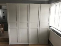 ikea pax wardrobes x 2!!! comes with hanging rails, 2 shelves and 6 large storage drawers/boxes