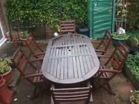 Wood garden table and 6 chairs