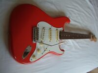 Fender Squier '60s Stratocaster electric guitar - Young Chang,Korea - E-Serial - Fiesta Red