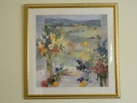 large watercolour picture with gold marled frame