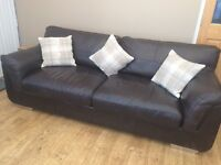 Chocolate Brown Leather Sofa in Good Used Condition