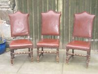 Set of three beautiful oak upholstered high back Victorian hall chairs.