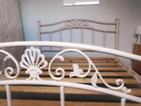 KING SIZE cream bed frame .