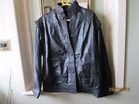 ladies short real leather coat size medium 14-16 colour black fully lined excellent condition