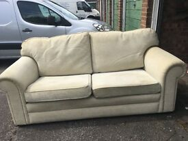 Cream 2 seater sofa and chair.