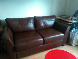 Modern 3 Seater Brown REAL Leather Sofa Bed