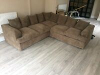 Corner sofa cord beige caramel mink very good condition
