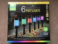 ( New and Sealed ) Solar Powered Nickel Post Lights 6pk - Colour Changing