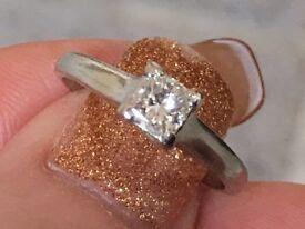 princess cut 0.50pts diamond solitaire ring palladium 950 size N