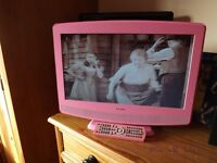 """PINK 19"""" HD READY DIGITAL TV WITH BUILT-IN DVD PLAYER"""