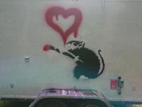 Quirky Mobile Catering Trailer with Graffiti and Banksy Rat