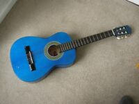 "STAGG 1/2 size guitar (overall length 34"") lovely blue quite rare, ok condition"