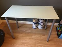 IKEA GLASHOLM/ ADILS White Frosted Glass table - original price £35, selling for £20.
