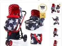 Cosatto giggle pram/buggy changing bag and car seat