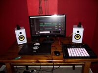 Ableton Push 2 with large screen monitor, KRK White Rokit 4 (x2), Scarlett 2i2 Audio Interface