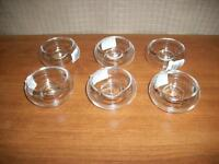 Clear Glass round tealight holder set of 6 Clearance!