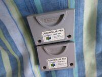 2 Nintendo 64 N64 Genuine Official Memory Cards Controller Paks