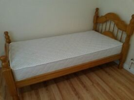Solid pine, single bed frame with mattress