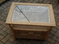 Wicker Coffee Table with Drawer and Glass top