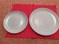 Vintage Poole sky blue/grey dinner plates & side plates, set of 8. Vgc.