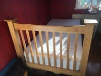 Solid Oak Single Bed Frame with Mattress