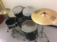 Pearl Export 800 Series Drum Kit Black, Shell Pack, Snare, Hardware, Cymbals, Sticks