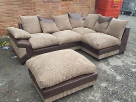 Fabulous brown beige jumbo cord corner sofa and footstool.or larger corner.1 month old.can deliver