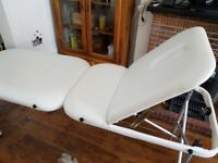 White leather massage table, foldable, got bag- £55