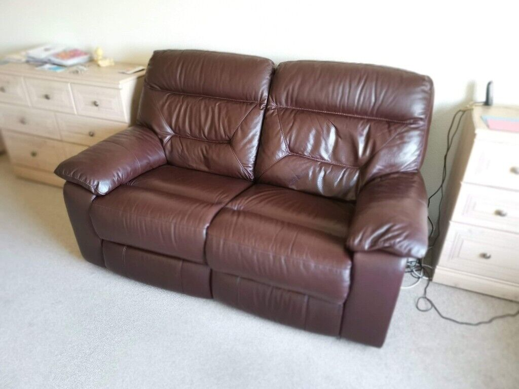 4c2c29de75a Brown leather 2 seater electronic recliner