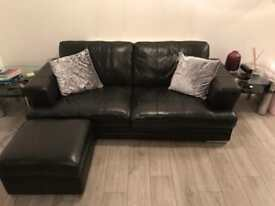 3 Pieces/ Black leather sofas