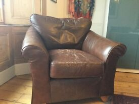 Stylish M&S Abbey Brown Leather Armchair
