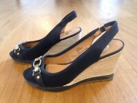 Size 4 River Island Navy Wedge Shoes