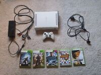 X BOX 360 PLUS 5 GAMES, RECHARGEABLE WIRELESS CONTROLLER, HD COMPATABLE