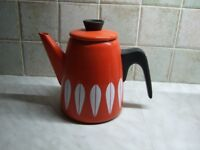 Catherine Holm Collectable Coffee Pot - Red/Orange with White Lotus - Unused in Mint Condition.