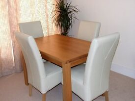 Oak dining Table & 4 Cream Leather Chairs
