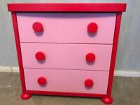 Ikea Red and Pink Mammut 3-drawer chest