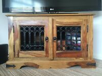 Rustic Hard Wood TV Cabinet with Bolted Ironwork Decoration