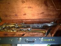 """BARITONE SAXOPHONE a """" BERG LARSEN """" in """" CHROME """" LOW """" A """" EXCELLENT CASE .+"""
