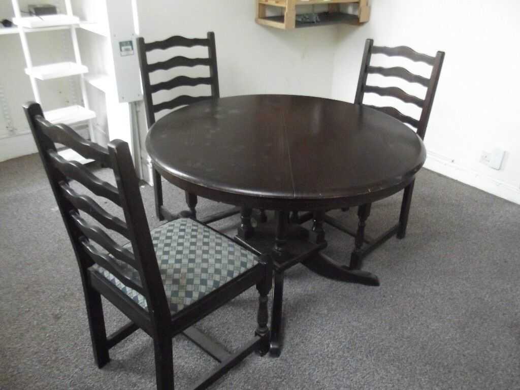 Round Wooden Dining Table with 3 Chairs | in Morley, West ...