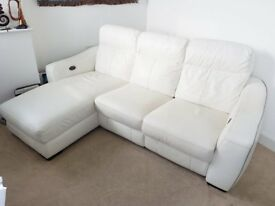 Electric reclining white leather 3 seater corner chaise sofa