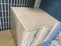 2 drawer light wood bedside cabinet