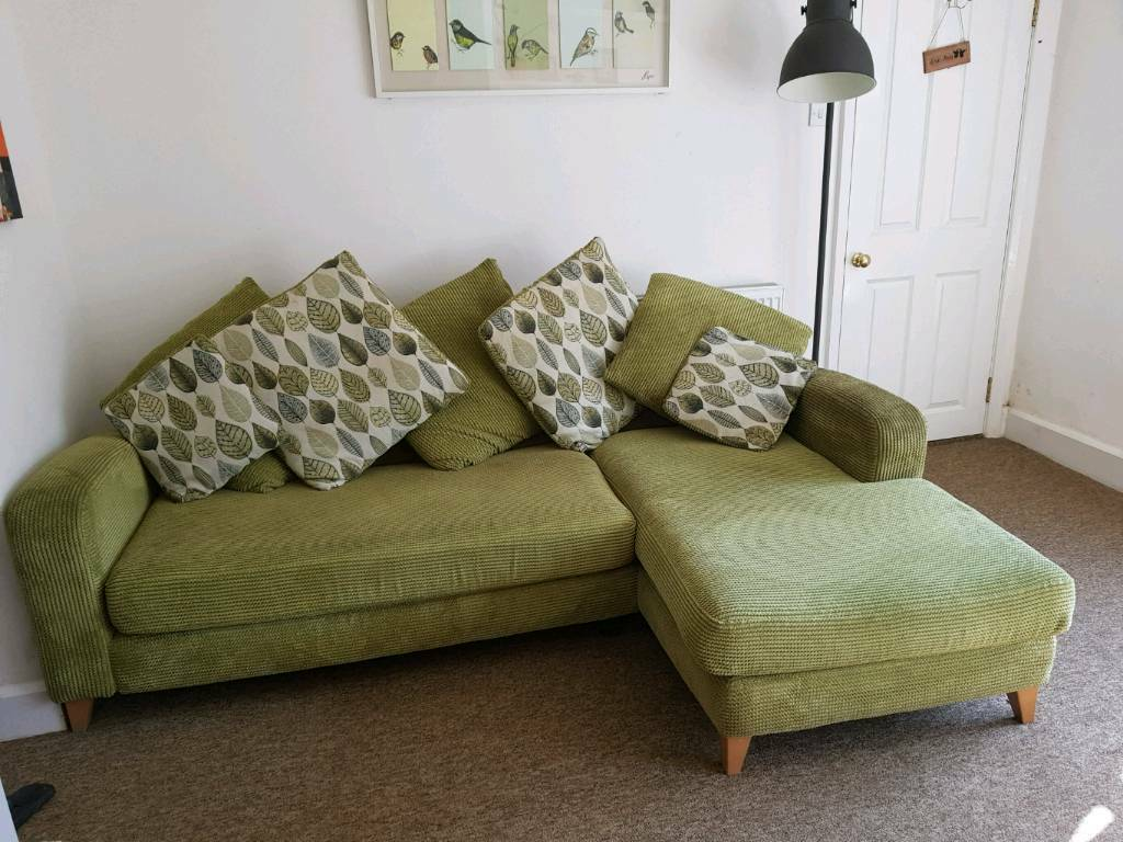 Comfy Dfs Green L Shaped Sofa And Large Love Seat