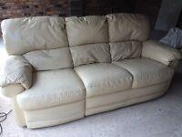 Two cream leather Harvey's 3 seater sofas